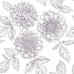 Graphic dahlias. Seamless pattern.