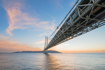 Kobe, Japan at the Akashi Kaikyo Ohashi Bridge