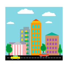 City with houses and cars. Flat design. Vector