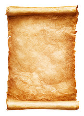 Antique paper scroll isolated on white background