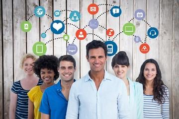 Composite image of portrait of creative team