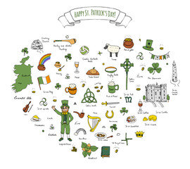 Happy St. Patrick's Day! Hand drawn doodle Ireland set Vector illustration Sketchy Irish traditional food icons elements Flag Map Celtic Cross Knot Castle Leprechaun Shamrock Harp Pot of gold