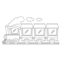 Coloring Book Outlined Train