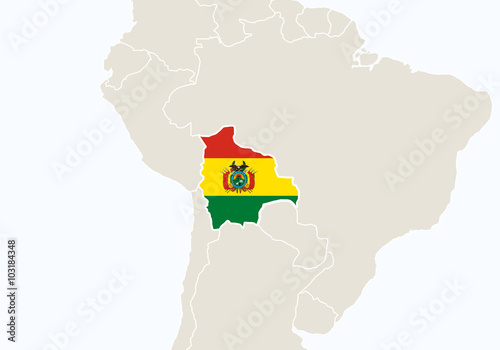 South america with highlighted bolivia map stock image and south america with highlighted bolivia map gumiabroncs Images