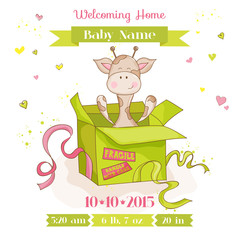 Baby Giraffe in a Box - Baby Shower or Arrival Card - in vector