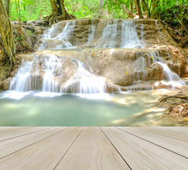 Wooden Perspective Floor with Waterfall in The Forest for Relax use to Mock up or Display Product