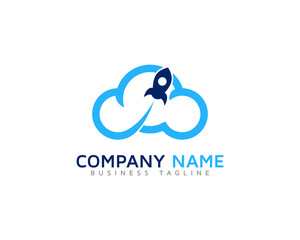 Cloud Rocket Logo Design Template