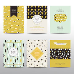 Set of Geometric Brochures and Cards - vintage layouts
