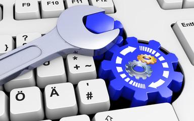 Kundendienst Tastatur Zahnrad Schraubenschlüssel