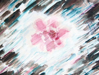 Watercolor painting with abstract flowers azaleas
