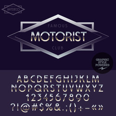 Silver elite logotype for motorbike club. Vector set of letters, numbers and symbols.