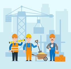 building construction concept illustration. construction site crane builders and workers in uniform
