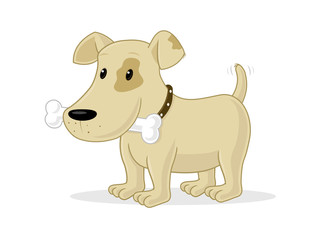 Cute little puppy with bone vector cartoon illustration