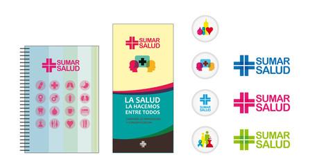 set medicine , calendar, logo , pins , leaflet
