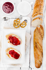 Two sandwich with raspberry jam