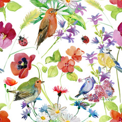 Canvas Prints Parrot Beautiful Watercolor Summer Garden Blooming Flowers Seamless Pattern on White Background