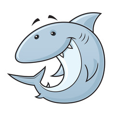 Happy cartoon shark mascot vector illustration
