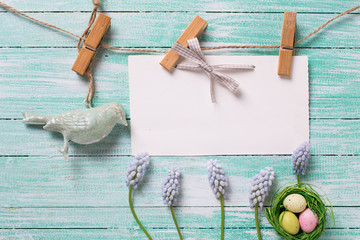 Easter background. Fresh blue flowers, Easter eggs in nest,  decorative bird  and empty tag on clothes line on turquoise   wooden background. Selective focus. Place for text. .