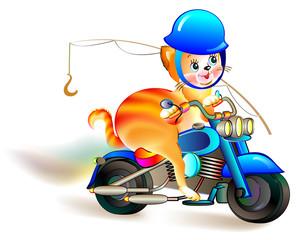 Illustration of funny kitten traveling on a motorbike, vector cartoon image.