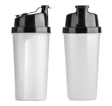 Plastic shaker isolated on white background with clipping path. Shaker for sport food cocktail. Black and white. Sport and healthy drink.