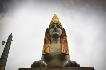 Ancient Egyptian sphinx near the bridge in St. Petersburg