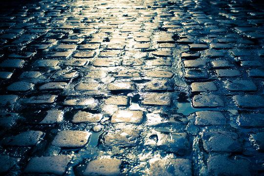 Wet cobblestone on old dark European street.