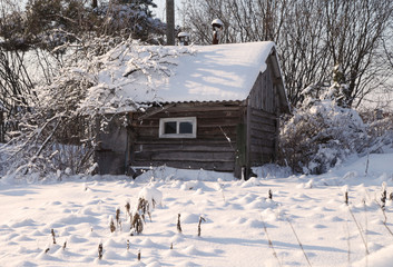зимний домик в снежном лесу и саду