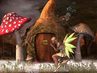Fairy Belle - Fairy Belle plays with glow flies outside her gourd home in the magical forest.