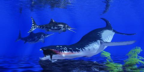 Liopleurodon catches an Ichthyosaur - An Ichthyosaur becomes prey for an enormous Liopleurodon marine reptile in Jurassic Seas.