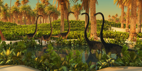 Omeisaurus Dinosaur Watering Hole - A herd of Omeisaurus dinosaurs use a small Jurassic pond for drinking and bathing.