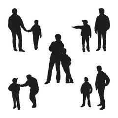 Set of Child and Parent Silhouettes