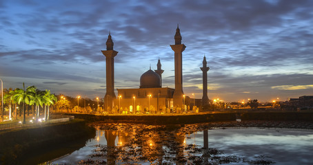 Tengku Ampuan Jemaah Mosque at blue hour. Bukit Jelutong Mosque is a Selangor's royal mosque located in Bukit Jelutong (Section U8) near Shah Alam, Malaysia.