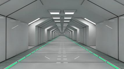 3d render. Futuristic interior corridor