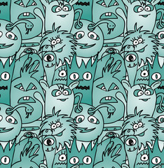 Doodle monsters seamless pattern