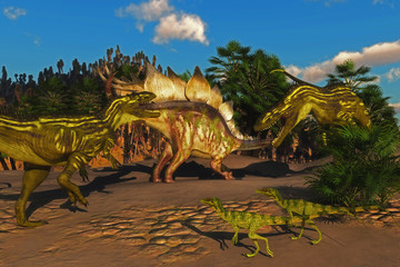 Stegosaurus Battle with Torvosaurus - Small Juravenator reptiles watch as a Stegosaurus tries to defend itself from two Torvosaurus dinosaurs.