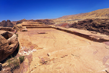 Jordan. Petra (Petra Archaeological Park). The High Place of Sacrifice - a large pool for rain water and two alters on left side
