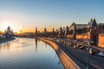 Kremlin embankment of the Moscow river at sunset.