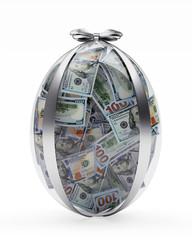 Glass Easter egg full of dollar bills isolated on white background