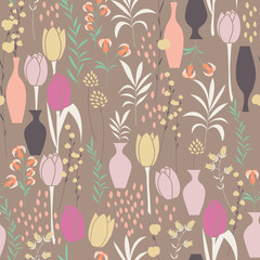 Vector seamless pattern with floral elements, spring flowers, tu