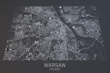Cartina Varsavia, vista satellitare, città, Polonia