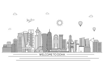 Doha detailed Skyline. Travel and tourism background. Vector background. line illustration. Line art style