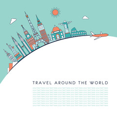 Travel around the world detailed Skyline. Travel and tourism background. Vector background. line illustration. Line art style