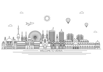 Vienna detailed Skyline. Travel and tourism background. Vector background. line illustration. Line art style