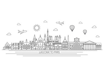 Paris detailed Skyline. Travel and tourism background. Vector background. line illustration. Line art style