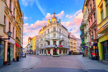 Central pedestrian street in Torun, Poland