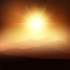 Deurstickers Bruin Sunset landscape
