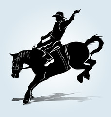 Vector silhouette of a rodeo rider