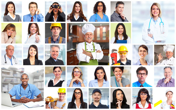 Business people workers faces collage.