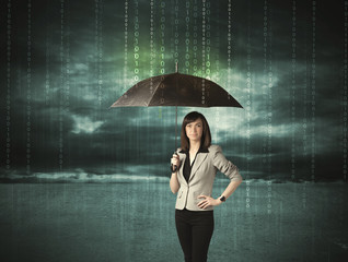 Business woman standing with umbrella data protection concept
