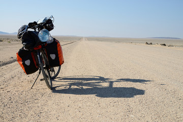 Long distance cycling in the Namib Naukluft National Park, Namibia